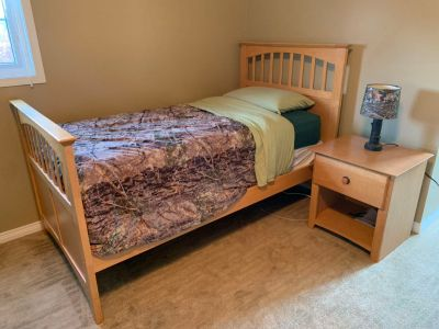Double Bed, Dresser with mirror, nightstand and desk