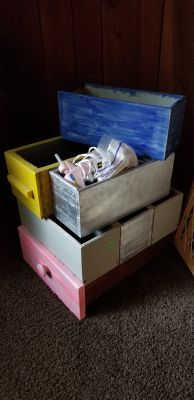 7 empty craft wooden boxes/drawers