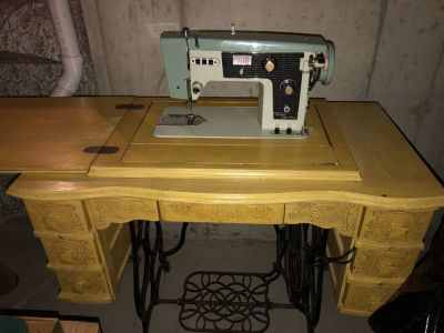 Antique Cabinet with working Sewing Machine