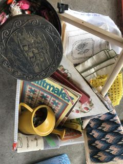 Tub of Crafting Supplies, Lots of Antique! Sewing projects, Buttons, String, New Ribbons Books! WOW