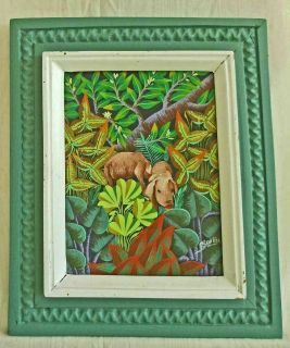 Vintage Haitian Folk Art Tropical Painting Pigs