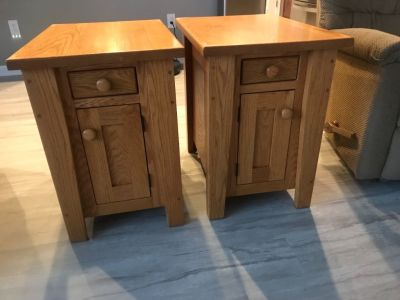 "Amish made solid oak end tables 24""H x 17""W x 24""D"