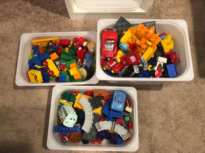 3 Bins of Assorted LEGO Duplos - Includes Cars characters