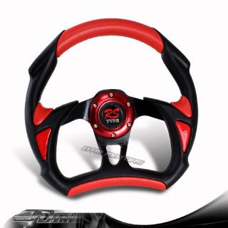 Buy Universal 6 Hole/Lug JDM 320mm Black + Red PVC Leather Racing Steering Wheel motorcycle in Rowland Heights, California, United States