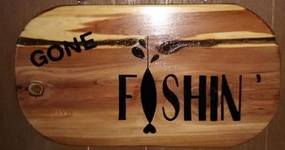 Every man's favorite thing to say! Gone Fishing cedar wooden plaque! Great gift for him