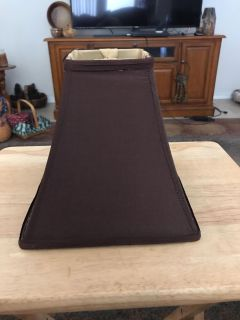 Small lampshade for dresser or bedside lamp. Chocolate brown. Like new. PPU only.