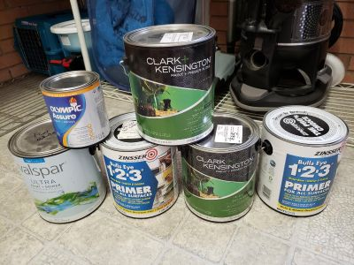 Never opened cans of paint, $10 each or whole lot for $50