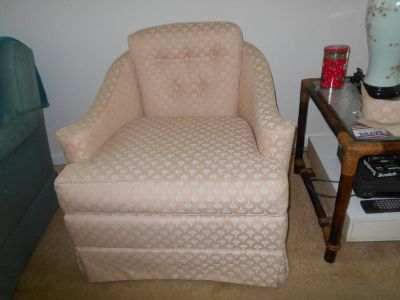 Reduced!  Upholstered Armchair, Rocks and Swivels - Must sell SOON!