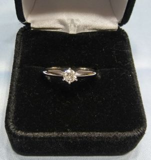 Woman's 1/3 Carat Diamond Solitaire Engagement Wedding Ring Band 14k White Gold Size 7.5