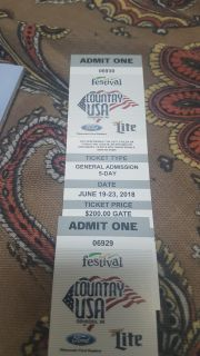 5 day country usa tickets