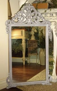 Large Ornate Shabby Chic Frosted Gray Vintage Mirror