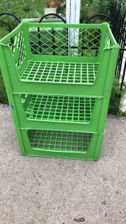 Large Plastic outdoor storage stacking crates