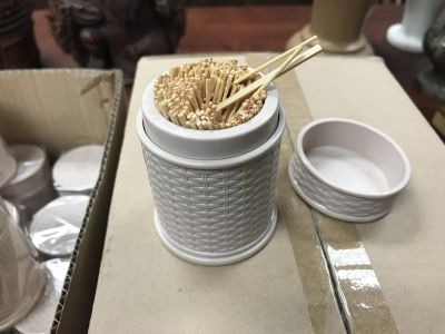 Bamboo toothpicks with nice holder