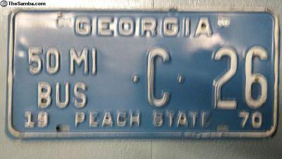 1970 50 Mile Bus Georgia License Plate Exc Shape