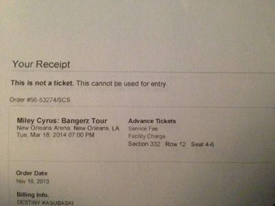Miley Cyrus Bangerz Tour Tickets