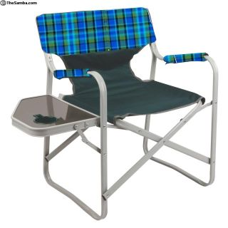 Westy Pattern Plaid Chair Seat & Side Table