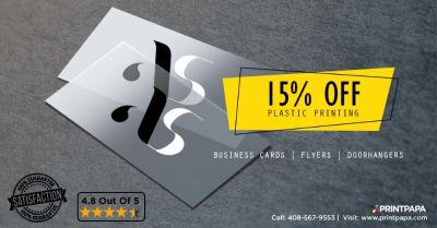 Get 15% Off on high quality Plastic Printing such as Flyers, Business Cards, & Door Hangers