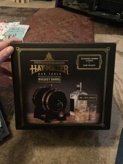 Hay makers bar tools whiskey barrel, new - ppu (near old chemstrand & 29) or PU @ the Marcus Pointe Thrift Store (on W st)