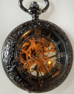 Mechanical Pocket Watch- Vintage style- Modern Design- Magnifying front window!