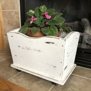 Beautiful shabby chic wooden container- see additional pic for interior, it has notched for books mags etc. measures 17 x12 x12 - price firm