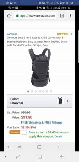 Contours Love 3 in 1 baby carrier