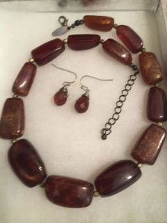 Large Brown Stone Necklace with matching earrings.
