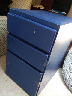 Old 3 drawer nightstand/file cabinet