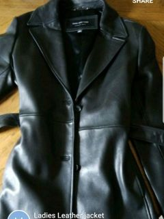 womens leather tie jacket