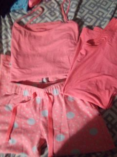 Comfortable everyday wear or sleepwear. Pants size small and both tank tops med