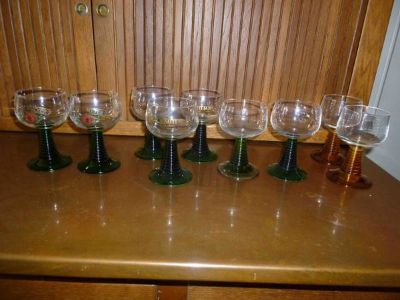 8 - German Roemer Liquor Glasses