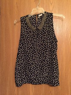 Polka dotted black blouse with jeweled collar