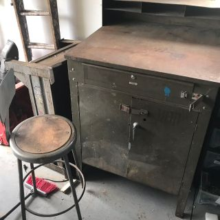 Industrial Drafting Table w/chair