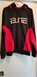 nike elite red and black hooded sweatshirt. pre-owned. size large