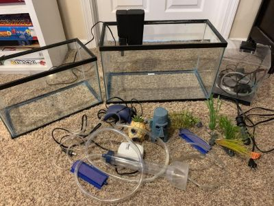 Aquariums - 10, 5, and 1.5 gallon with accessories