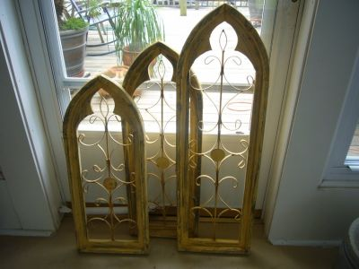 VINTAGE ARCHED WOOD AND METAL WINDOW DECOR (SET OF THREE)