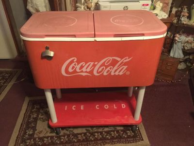 Metal Coca Cola Cooler Wheeled Coke Ice Chest