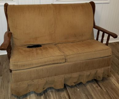Antique rocking loveseat and matching rocking chair
