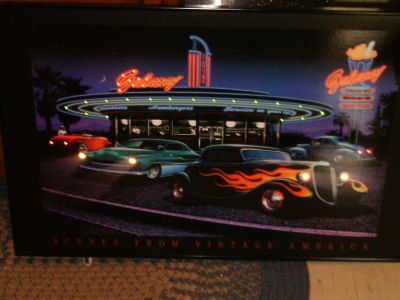 BRAND NEW IN BOX LED LIGHTER GALAXY DINER VINTAGE CAR FRAMED PICTURE