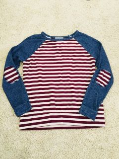 Loveappella Patch Elbow Striped Top