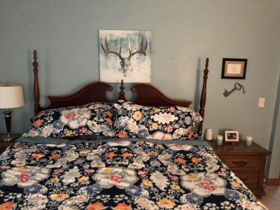 Bed, King Mattress (box spring included) and Dresser