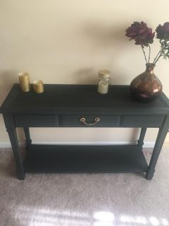 Soft Black Entry Table Hand Painted with Annie Sloan Chalk Paint in Graphite.