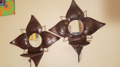 Pair of cool looking copper wall sconces with mirrors. EUC