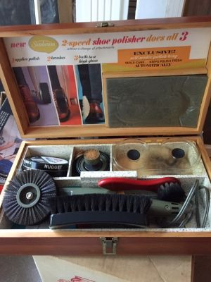 Sunbeam Electric Shoe Polisher Kit Vintage Wood Box + Accessories