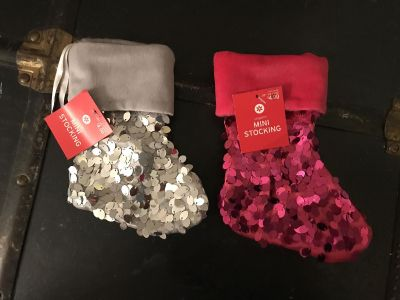 Silver and Pink Small Stockings - new!