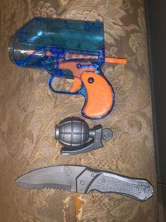 set of fake weapons