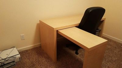 Two-piece desk with supporting back chair