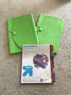 2 Five Pocket Files and Index Dividers with Pockets