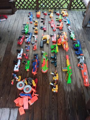 Lot of 40 NERF GUNS!!! Comes with accessories and darts all excellent condition!!!