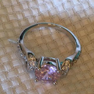 Gorgeous Pink and White Topaz Gemstone Ring - Two Available Size 7 and Size 8