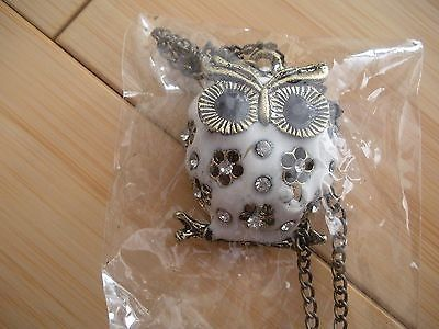 lady's owl crystal bronze retro long chain pendant necklace jewelry